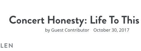 Concert Honesty: Life To This Point
