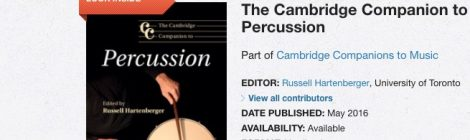 "Pedro Carneiro no livro ""The Cambridge Companion to Percussion"""