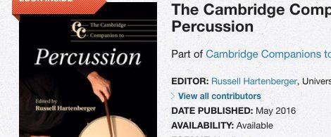 "Pedro Carneiro no livro ""The Cambridge Companion to Percussion"""